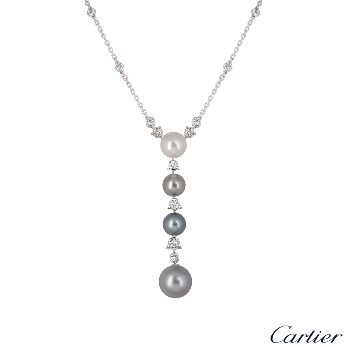 Cartier Platinum Diamond and Pearl Calin Necklace